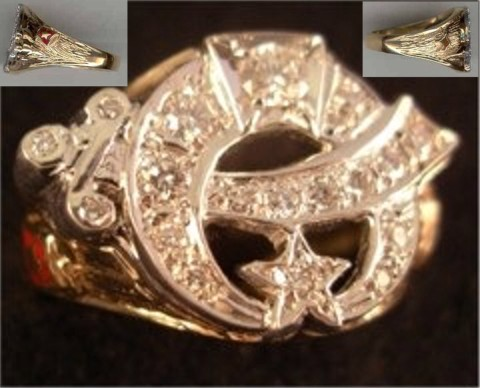 Shrine Ring 10KT or 14KT Gold, Open Back or Solid Back #35