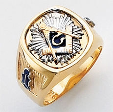 3rd Degree Masonic Blue Lodge Ring 10KT OR 14KT, Open or Solid Back, White or Yellow Gold, #165b