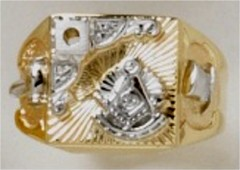 Masonic Past Master Rings 10KT or 14KT YELLOW OR WHITE Gold, Open or Solid  Back #1034