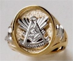Masonic Past Master Rings 10KT or 14KT YELLOW OR WHITE Gold, Solid Back #1017