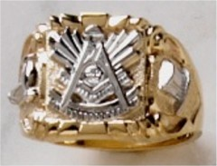 Masonic Past Master Rings 10KT or 14KT YELLOW OR WHITE Gold, Solid Back #1016
