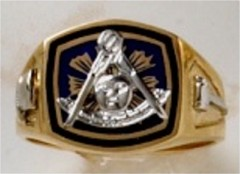 Masonic Past Master Rings 10KT or 14KT YELLOW OR WHITE Gold,  Solid Back #1021
