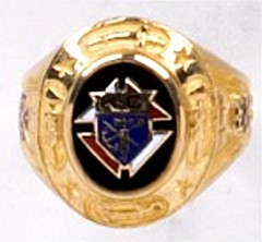 Knights of Columbus Ring, 3rd or 4th Degree, 10KT or 14KT Gold Open or Solid Back #1918