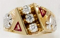Scottish Rite Rings, 10 KT or 14KT, White or Yellow Gold, Open or Solid Back #1220