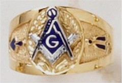 3rd Degree  Blue Lodge Masonic Ring 10KT or 14KT YELLOW OR WHITE Gold, Solid Back   #406