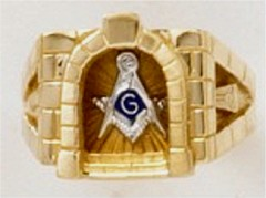 3rd Degree Blue Lodge Masonic Ring 10KT or 14KT YELLOW OR WHITE Gold,  Solid Back #426