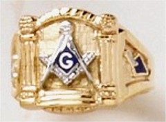 3rd Degree Masonic Blue Lodge Ring 10KT or 14KT White or Yellow  Gold, Solid Back #325