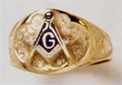 3rd Degree Masonic Blue Lodge Ring 10KT or 14KT White or Yellow Gold, Open or Solid Back #323