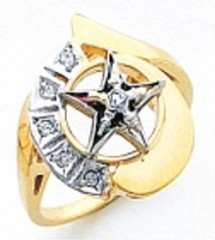 Eastern Star 10Kt or 14KT, Yellow or White Gold with Diamonds #24