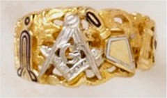 3rd Degree Masonic Ring 10KT OR 14KT, Open or Solid Back, White or Yellow Gold #613