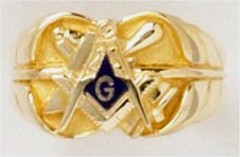 3rd Degree Masonic Ring 10KT OR 14KT, Open or Solid Back, White or Yellow Gold #614