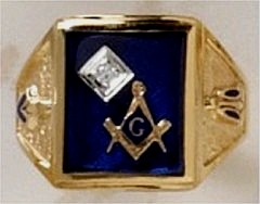 3rd Degree Blue Lodge Masonic Ring 10KT or 14KT YELLOW OR WHITE Gold, Solid Back  #403
