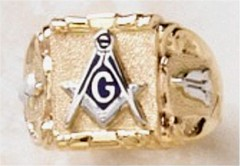 3rd Degree Blue Lodge Masonic Ring 10KT or 14KT YELLOW OR WHITE Gold, Solid Back    #425