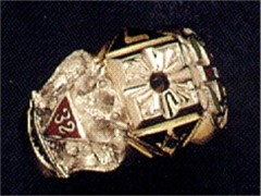 Scottish Rite & Shrine Ring 10KT or 14KT Gold, Open or Solid Back  #1410