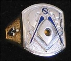 3rd Degree Masonic Blue Lodge Ring 10KT or 14KT Gold, Open or Solid Back #320