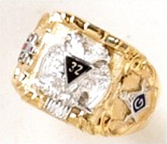 Scottish Rite Rings 10KT or 14KT Solid Back  #1131