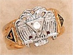Scottish Rite Rings, 10KTor 14KT,Hollow Back,14 DEGREE AND 32ND, #1214