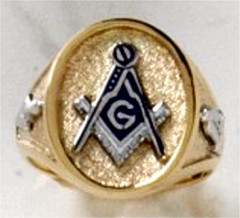 3rd Degree Masonic Ring 10KT OR 14KT, Solid Back, White or Yellow Gold #616