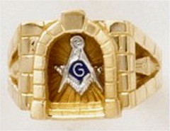 3rd Degree Masonic Ring 10KT OR 14KT, Open or Solid Back, White or Yellow Gold #621