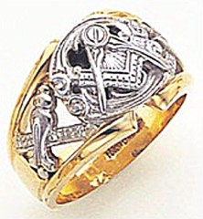 3rd Degree Masonic Blue Lodge Ring 10KT OR 14KT, Open Back, White or Yellow Gold, #158b
