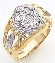 3rd Degree Masonic Blue Lodge Ring  14KT, Open  Back, Two Tone Gold, #159b