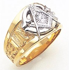 3rd Degree Masonic Blue Lodge Ring 10KT OR 14KT, Solid Back, White or Yellow Gold, #161b