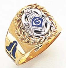 3rd Degree Masonic Blue Lodge Ring 10KT OR 14KT, Solid Back, White or Yellow Gold, #162b