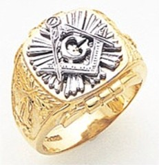 3rd Degree Masonic Blue Lodge Ring 10KT OR 14KT, Open Back, White or Yellow Gold, #163b
