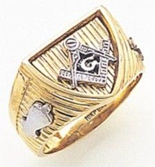 3rd Degree Masonic Blue Lodge Ring 10KT OR 14KT, Open Back, White or Yellow Gold, #164b