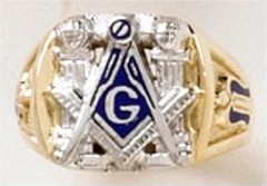 3rd Degree Masonic Ring 10KT OR 14KT, Open or Solid Back, White or Yellow Gold #602