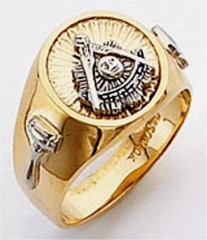 Masonic Past Master Rings 10KT or 14KT YELLOW OR WHITE Gold, Solid Back #1041