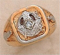 3rd Degree Masonic Blue Lodge Ring 10KT or 14KT Gold, Solid Back  #302