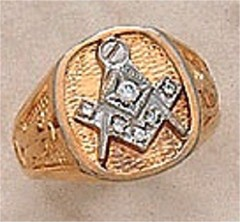 3rd Degree Masonic Blue Lodge Ring 10KT or 14KT Gold, Solid Back #303