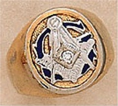 3rd Degree Masonic Blue Lodge Ring 10KT or 14KT Gold, Solid Back #308