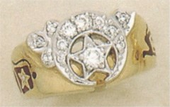 SHRINE RING, 10KT or 14KT GOLD, Solid Back .50CT Total Diamond Weight #2