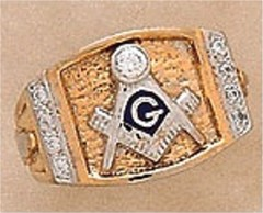 3rd Degree Masonic Blue Lodge Ring 10KT or 14KTGold, Solid Back   #313