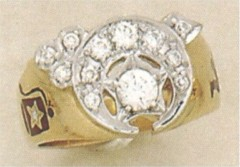 SHRINE RING 10KT or 14KTGOLD, Solid Back .85CT TOTAL DIAMOND WEIGHT   #3A
