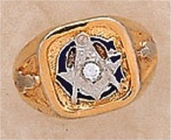 3rd Degree Masonic Blue Lodge Ring 10KT or 14KT Gold, Solid Back  #315