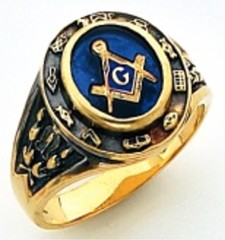 3rd Degree Masonic Blue Lodge Ring 10KT OR 14KT, Solid Back, White or Yellow Gold, #202b