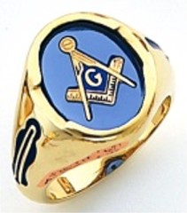 3rd Degree Masonic Blue Lodge Ring 10KT OR 14KT, Open Back, White or Yellow Gold, #203b