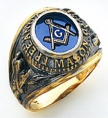 3rd Degree Masonic Blue Lodge Ring 10KT OR 14KT, Open Back, White or Yellow Gold, #204b