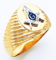 3rd Degree Masonic Blue Lodge Ring 10KT OR 14KT, Concave Back, White or Yellow Gold, #205b