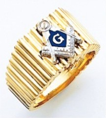 3rd Degree Masonic Blue Lodge Ring 10KT OR 14KT, Open or Solid Back, White or Yellow Gold, #206b