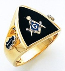 3rd Degree Masonic Blue Lodge Ring 10KT OR 14KT, Open or Solid Back, White or Yellow Gold, #208b