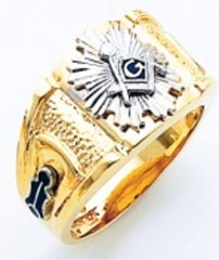 3rd Degree Masonic Blue Lodge Ring 10KT OR 14KT, Open or Solid Back, White or Yellow Gold, #211b