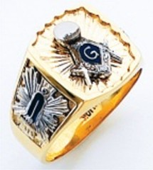 3rd Degree Masonic Blue Lodge Ring 10KT OR 14KT, Open Back, White or Yellow Gold, #212b