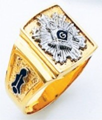 3rd Degree Masonic Blue Lodge Ring 10KT OR 14KT,  Solid Back, White or Yellow Gold, #214b