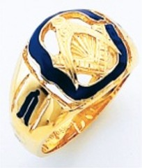 3rd Degree Masonic Blue Lodge Ring 10KT OR 14KT, Open Back, White or Yellow Gold #217b