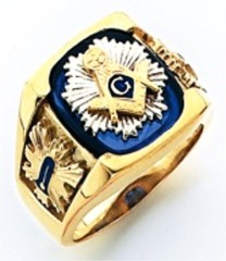 3rd Degree Masonic Blue Lodge Ring 10KT OR 14KT, Open Back, White or Yellow Gold, #218b
