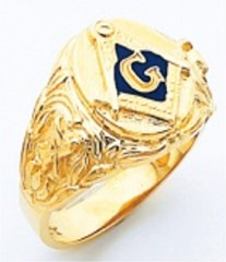 3rd Degree Masonic Blue Lodge Ring 10KT OR 14KT, Open Back, White or Yellow Gold #219b
